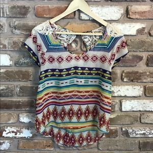 Tribal Print Crochet Shoulders Top Blouse